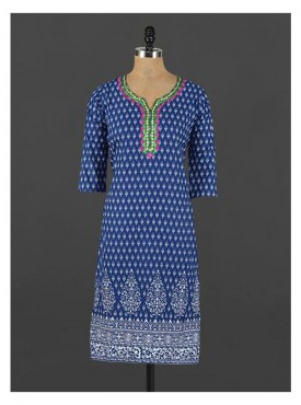 Crazora embroidered neck ethnic printed blueKurti
