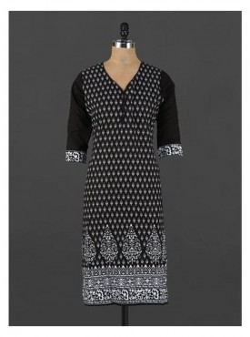 Crazora monochrome ethnic printed cotton Kurti