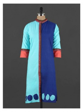 Crazora color block mirror work neckKurti