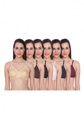 Ansh Fashion Wear Women Dot Print Cotten Bra Pack of 6