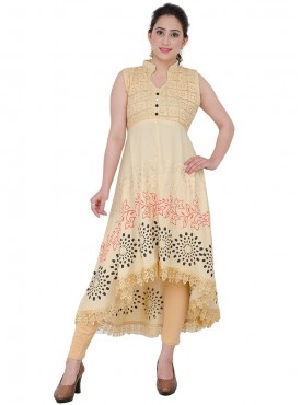 Anu Saji Beige Cotton Silk Kurtis
