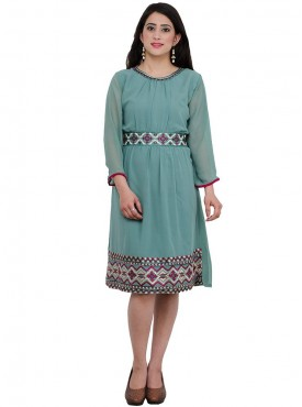 Anu Saji Light Sky Blue Rayon Kurtis
