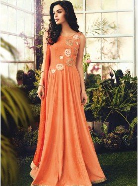 Shelina Embroidered Peach Color Suit