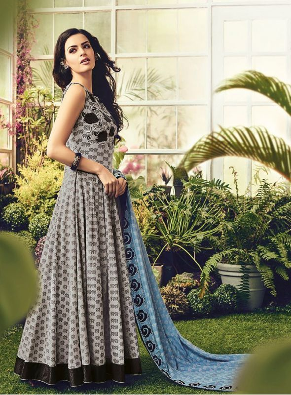 Shelina Embroidered Grey Color Suit