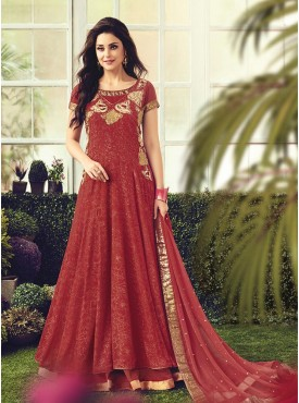 Shelina Embroidered Red Color Suit