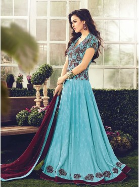 Shelina Embroidered Aqua Blue Color Suit