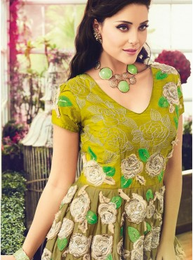 Shelina Embroidered Green Color Suit