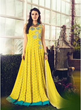 Shelina Embroidered Yellow Color Suit