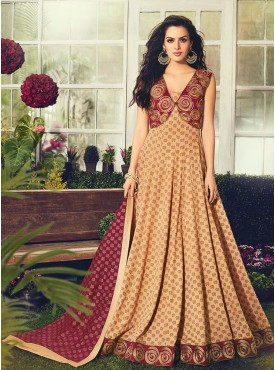 Shelina Embroidered Beige Color Suit