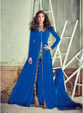 Shelina Embroidered Blue Color Suit