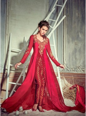 Shelina Embroidered Red and Maroon Color Suit