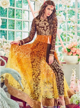 Shelina Embroidered Brown and Yellow Color Suit