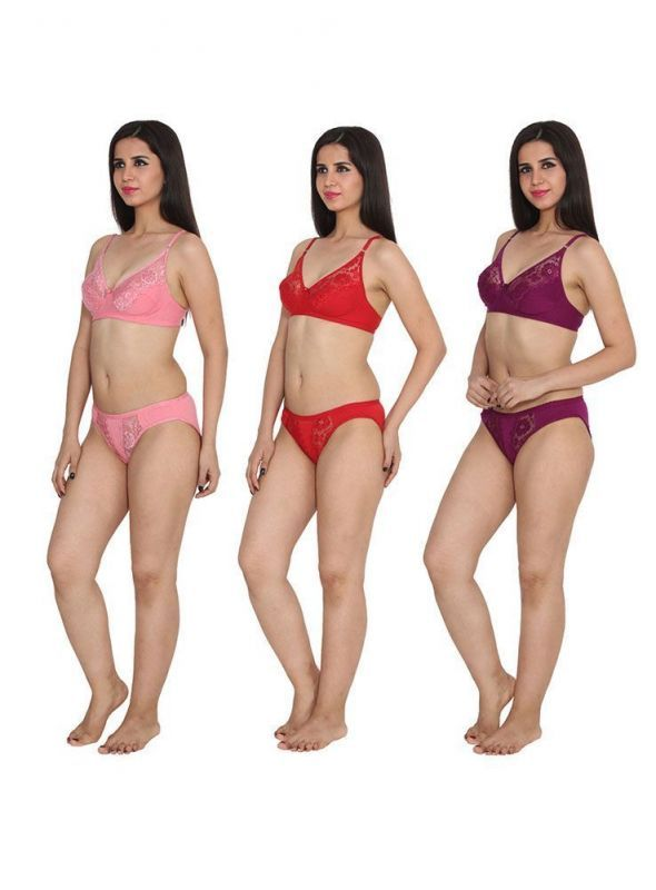 Ansh Fashion Wear Red Color Bra & Panty Sets Pack Of 3