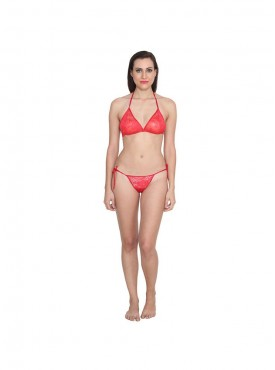 Ansh Fashion Wear Solid Colour Bra & Thong Set