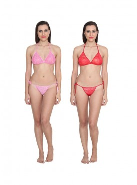 Ansh Fashion Wear Solid Bra & Thong Set Pack of 2