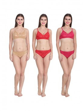 Ansh Fashion Wear Solid Colour Bra & Panty Pack of 3