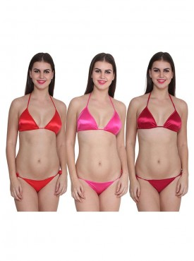 Ansh Fashion Wear Solid Bra & Thong Set Pack of 3