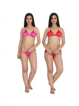 Ansh Fashion Wear Pink Color Bra & Panty Sets Pack Of 2