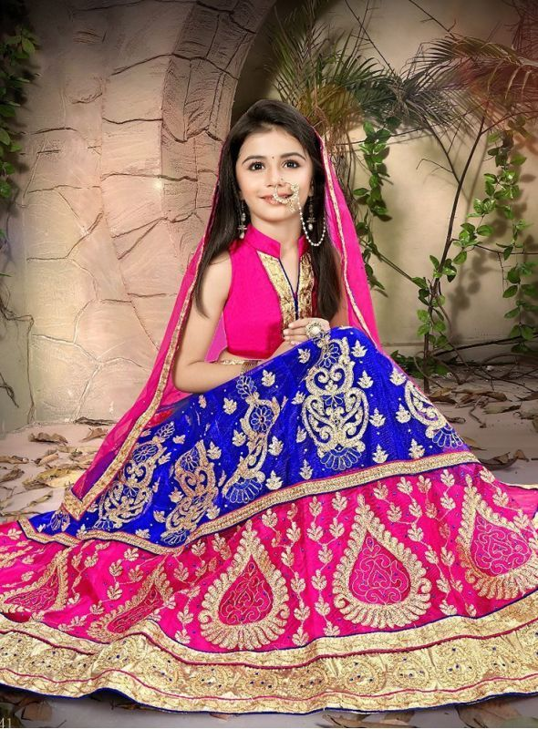 Rinky Fashion Kids Embroidered Net Lehenga