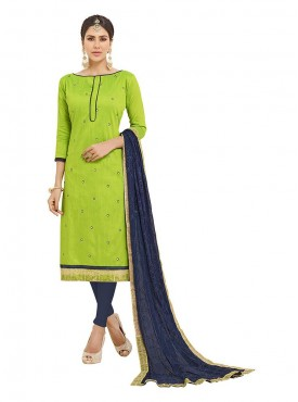 Aasvaa Embroidered Green Color Salwar Suit