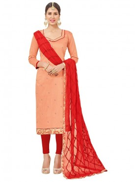 Aasvaa Embroidered PeachPuff Color Salwar Suit