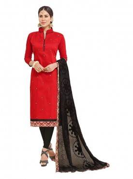 Aasvaa Embroidered Red Color Salwar Suit