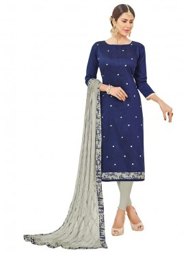 Aasvaa Embroidered Royal Blue Color Salwar Suit