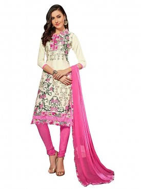Aasvaa Embroidered White Color Salwar Suit