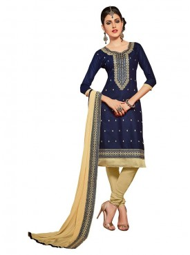 Aasvaa Embroidered Nevy Blue Color Salwar Suit