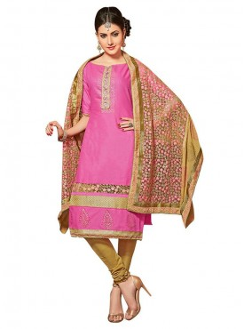 Aasvaa Embroidered Pink Color Salwar Suit