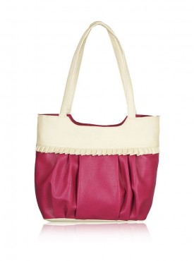 Fristo Pink and Cream women handbag