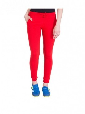American-Elm Basic Solid Women Red Track Pant