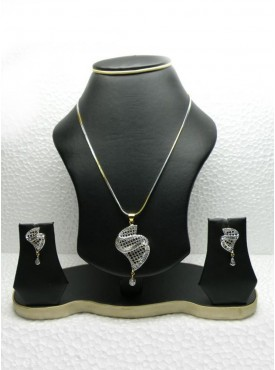 Contemporary Silver Color Pendant Set