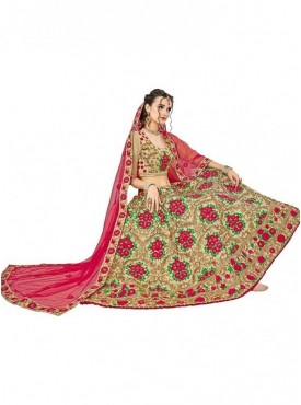 Aasvaa Chiku Peach Embroidered Lehenga