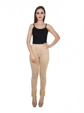 Stylobby Cotton Lycra Beige Color Lace Legging For Women