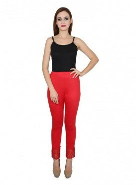 Stylobby Cotton Lycra Red Color Lace Legging For Women