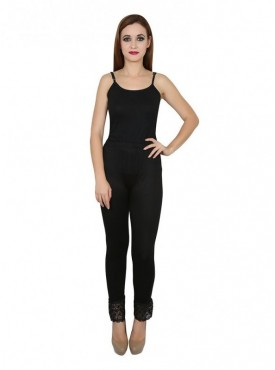 Stylobby Cotton Lycra Black Color Lace Legging For Women