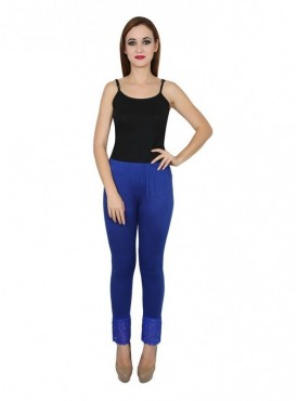 Stylobby Cotton Lycra Blue Color Lace Legging For Women
