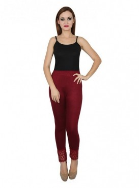 Stylobby Cotton Lycra Maroon Color Lace Legging For Women