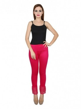 Stylobby Cotton Lycra Pink Color Lace Legging For Women