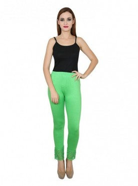 Stylobby Cotton Lycra Parrot Green Color Lace Legging For Women