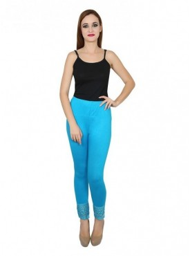Stylobby Cotton Lycra Sky Blue Color Lace Legging For Women