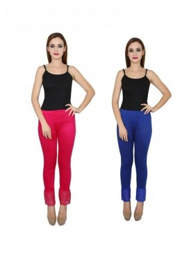 Stylobby Cotton Lycra Multicolor Color Lace Legging For Women