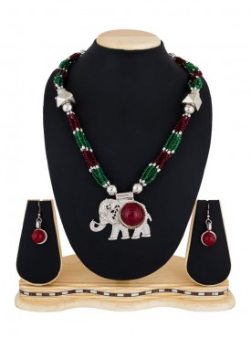 The PR Fashion Multicolor Elephant Shaped Oxodized Necklace For Navratri