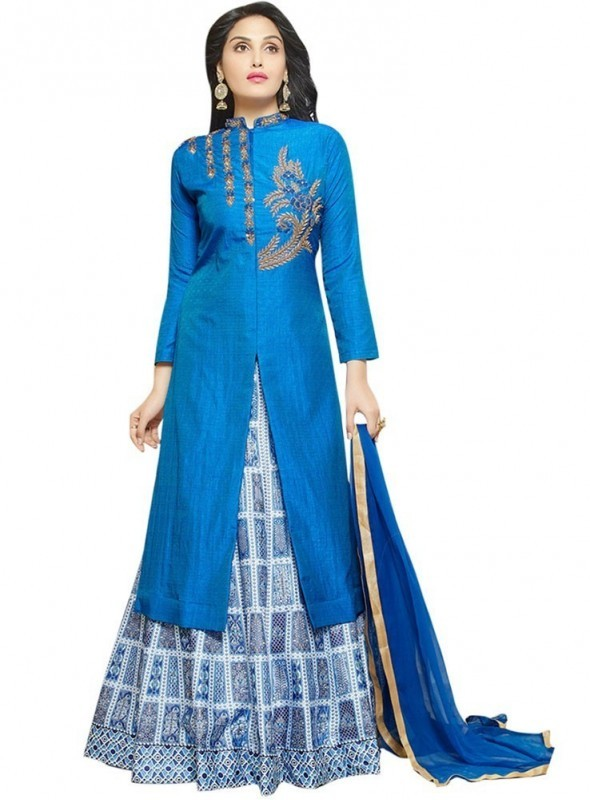 SHELINA Women Blue Silk Embroidered Partywear Salwar Suit with Designer Embroidery work