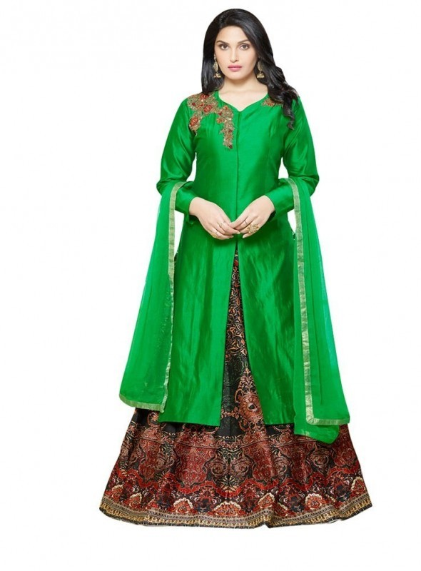 SHELINA Women Green Silk Embroidered Partywear Salwar Suit with Designer Embroidery work