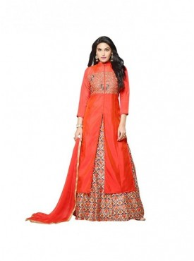 SHELINA Women Orange Silk Embroidered Partywear Salwar Suit with Designer Embroidery work