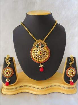 Sparkling Gold Color & Red Jewelry