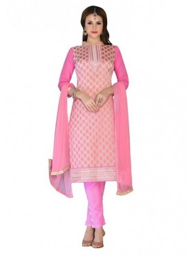 Aasvaa Fashion Heavy Multi Embrodiery Fancy Border Pink Color Salwar Suit