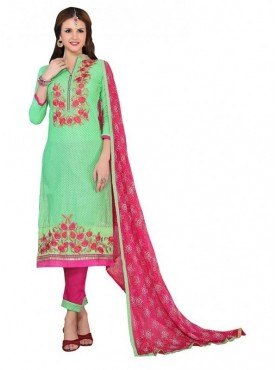 Aasvaa Fashion Heavy Multi Embrodiery With Fancy Border Green Color Salwar Suit